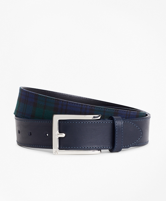 Harris Tweed Black Watch Tartan Belt Navy-Green