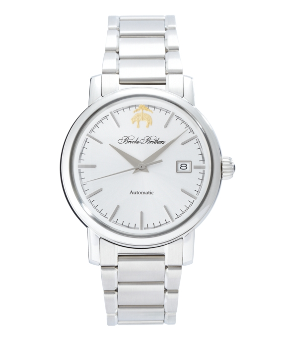 Round Watch with Stainless Steel Band White
