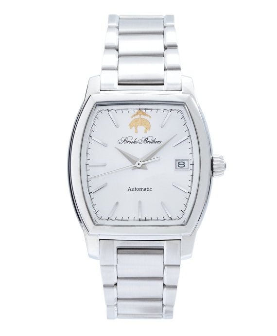 Rectangular Watch with Stainless Steel Band White