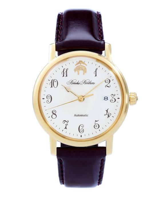Round Watch with Calfskin Band Gold