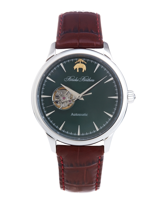 Round Watch with Embossed Leather Band Green
