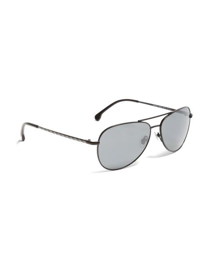 Black Metal Aviator BB#1 Stripe Arm Sunglasses