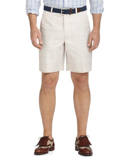 St Andrews Links Plain-Front Checked Mini-Plaid Golf Shorts