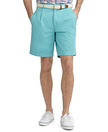 Garment-Dyed Pleat-Front Twill Shorts