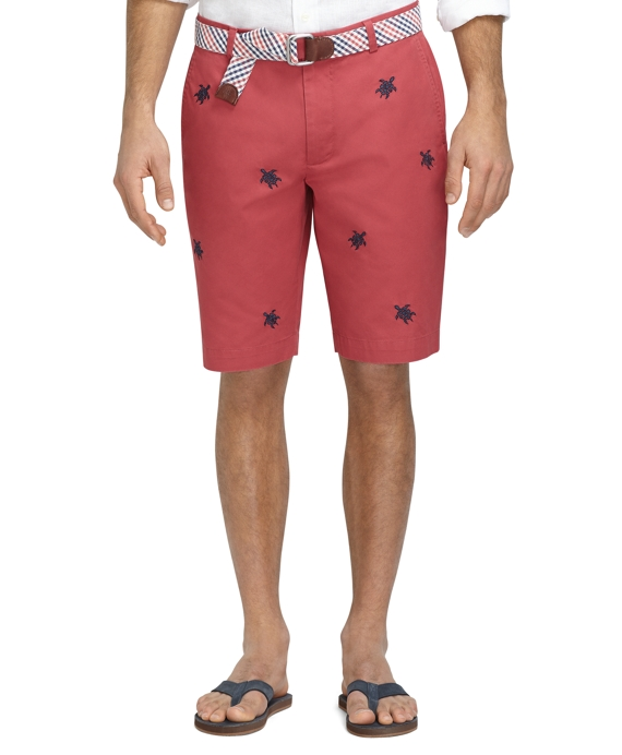 "11"" Embroidered Turtle Bermuda Shorts Brick"