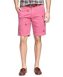 Nautical Embroidered Bermuda Shorts