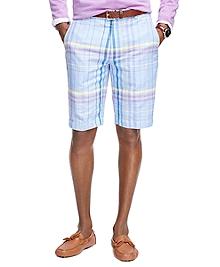 Chambray Plaid Bermuda Shorts