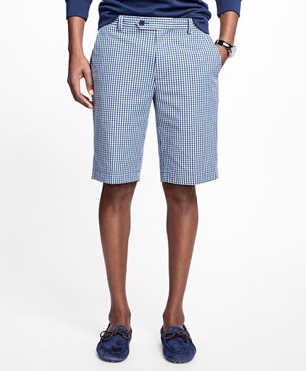Heathered Gingham Bermuda Shorts
