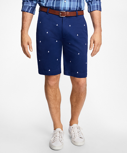 Sailboat Embroidered Bermuda Shorts
