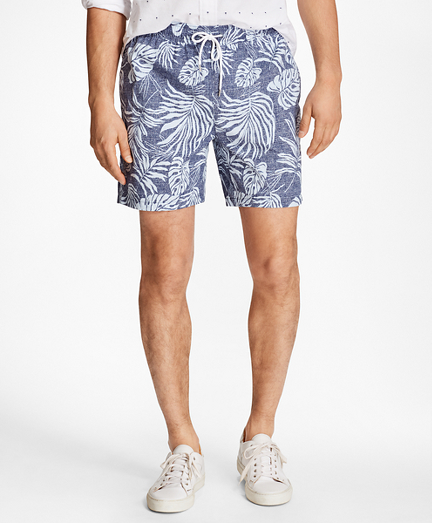"Montauk 6"" Tropical Leaf Print Swim Trunks"
