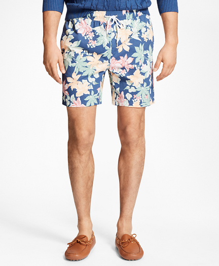 "Montauk 6"" Tropical Floral Print Swim Trunks"