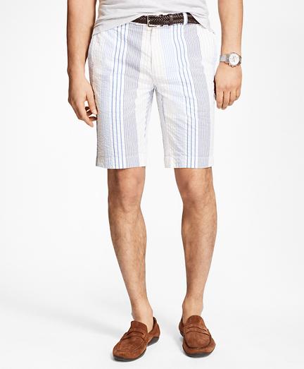 Multi-Stripe Seersucker Bermuda Shorts