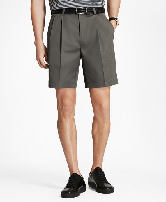 Pleat Front Stretch Advantage Chino Shorts Grey