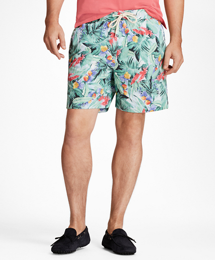 "Montauk 6"" Bold Tropical Print Swim Trunks"