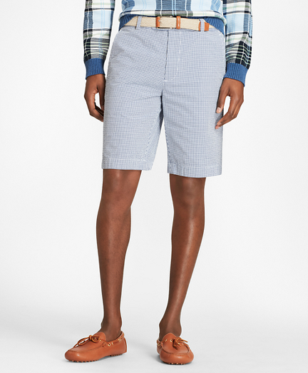 Gingham Seersucker Bermuda Shorts