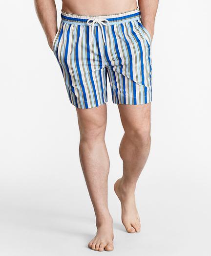 "Montauk 6"" Stripe Print Swim Trunks"
