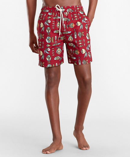 "Montauk 6"" Fish Print Swim Trunks"