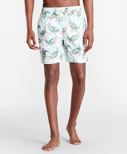 "Montauk 6"" Turtle Print Swim Trunks"