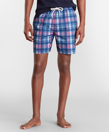 "Montauk 6"" Indigo Plaid Print Swim Trunks"
