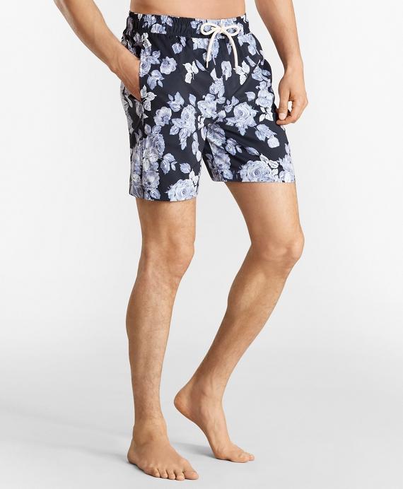 "Montauk 6"" Floral Print Swim Trunks Navy"