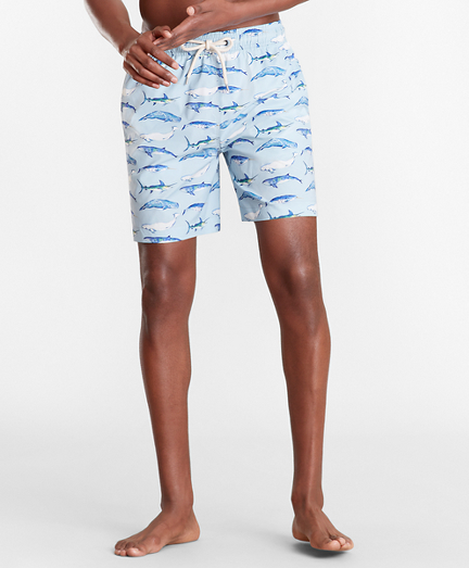 "Montauk 6"" Whale Print Swim Trunks"