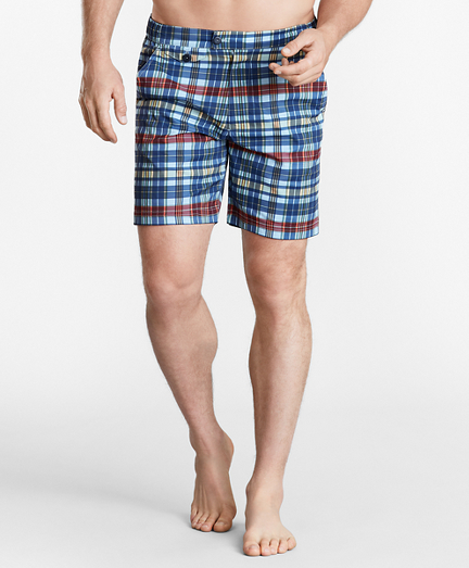 "Newport 7"" Plaid Swim Trunks"