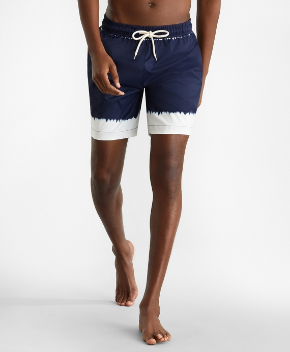 "Montauk 6"" Tie-Dye Print Swim Trunks Navy"
