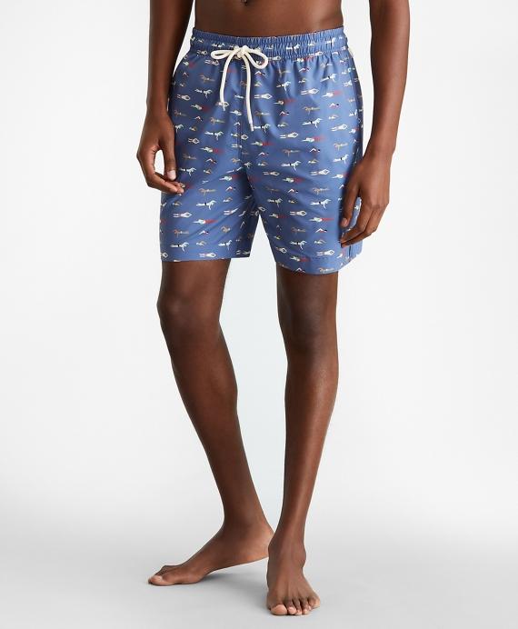 "Montauk 6"" Swimmers Motif Print Swim Trunks Blue"
