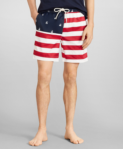 "Montauk 6"" Flag Print Swim Trunks"