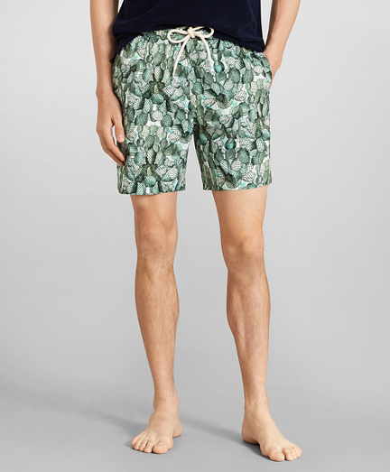 "Montauk 6"" Cactus Print Swim Trunks"