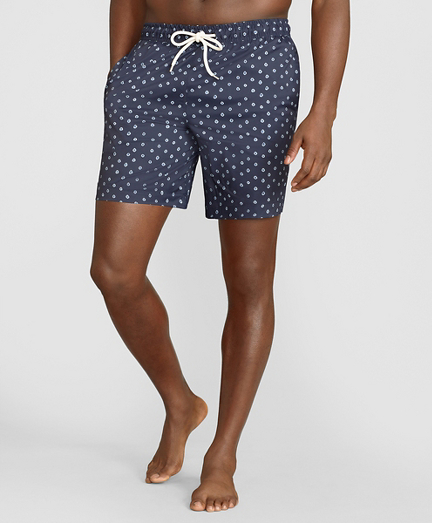 "Montauk 6"" Indigo Dot Swim Trunks"