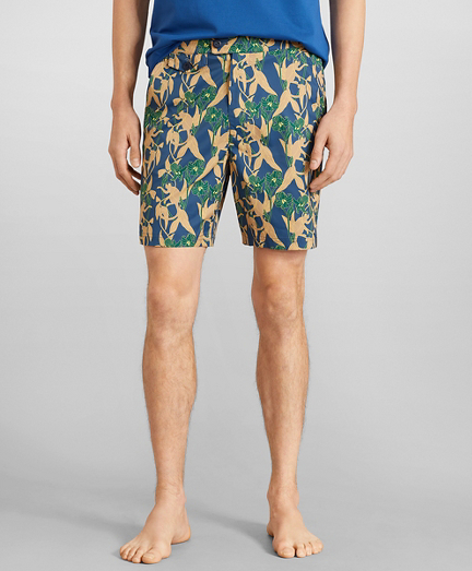 "Newport 7"" Monkey Print Swim Trunks"