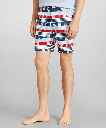 "Newport 7"" Multi-Stripe Swim Trunks"