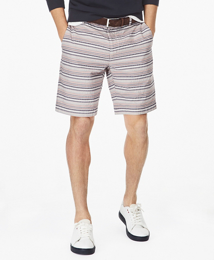 Multi-Stripe Seersucker Shorts