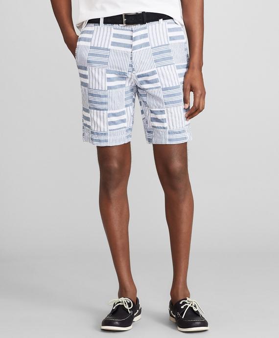 Patchwork Madras Shorts Blue