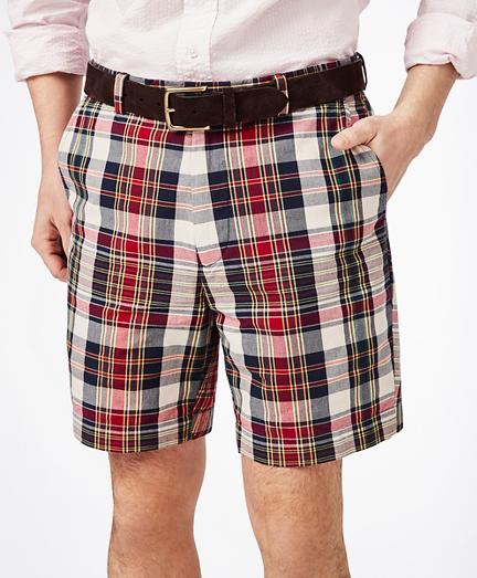 "7"" Red-Multi Cotton Madras Shorts"