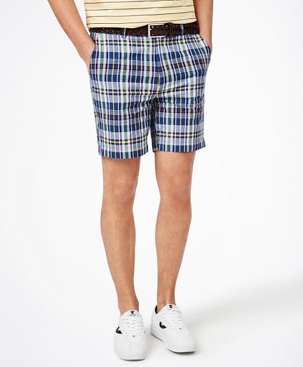 "7"" Navy-Multi Cotton Madras Shorts"