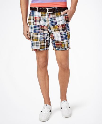 "7"" Patchwork Madras Shorts"