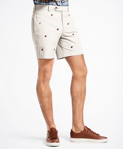 """7"""" Ladybug Embroidered Shorts"""