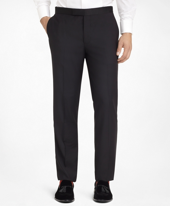 Ready-Made Regent Fit Plain-Front Tuxedo Trousers Black