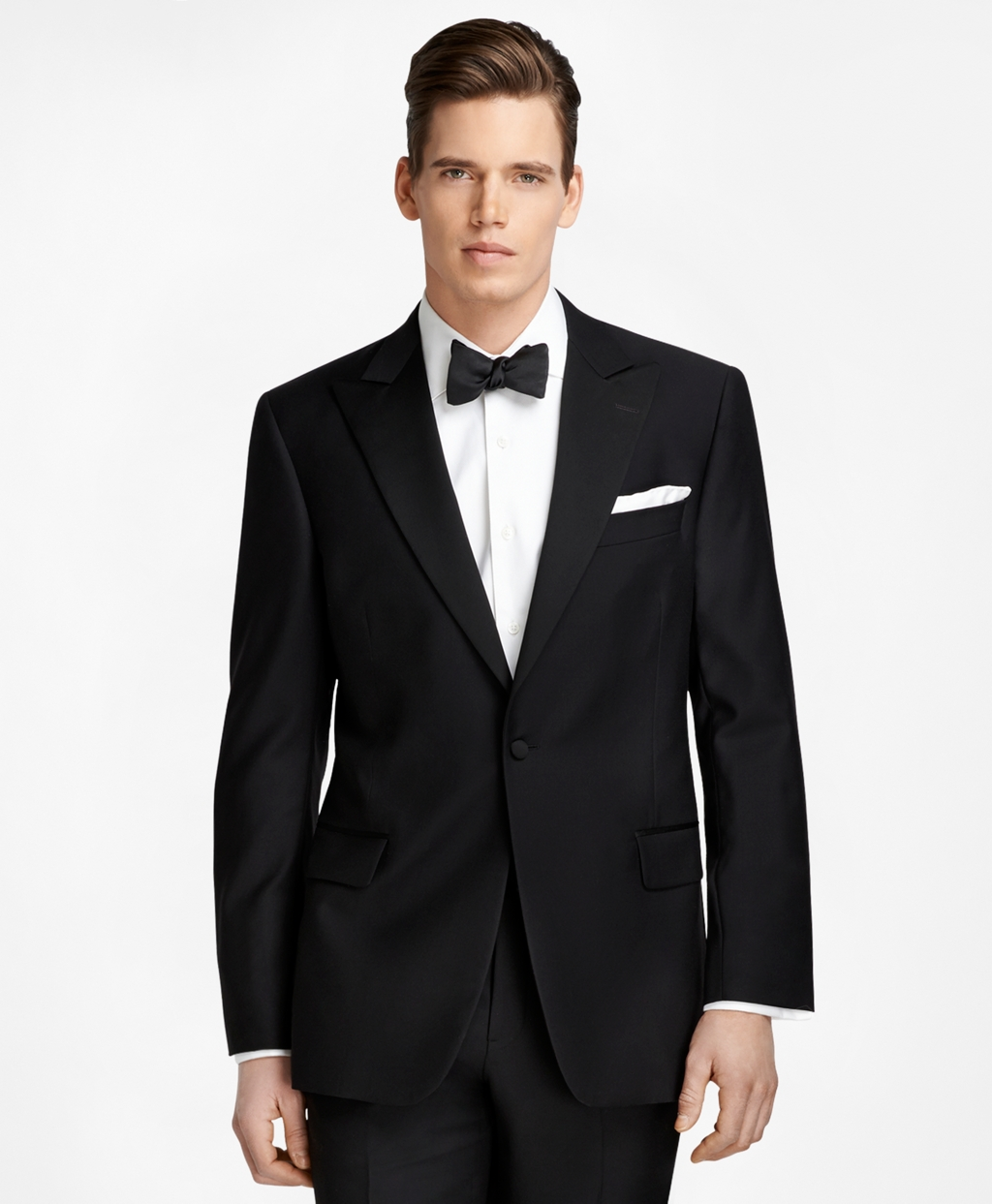 New Vintage Tuxedos, Tailcoats, Morning Suits, Dinner Jackets Brooks Brothers Mens Slim Fit One-Button Peak Lapel Tuxedo $1,198.00 AT vintagedancer.com