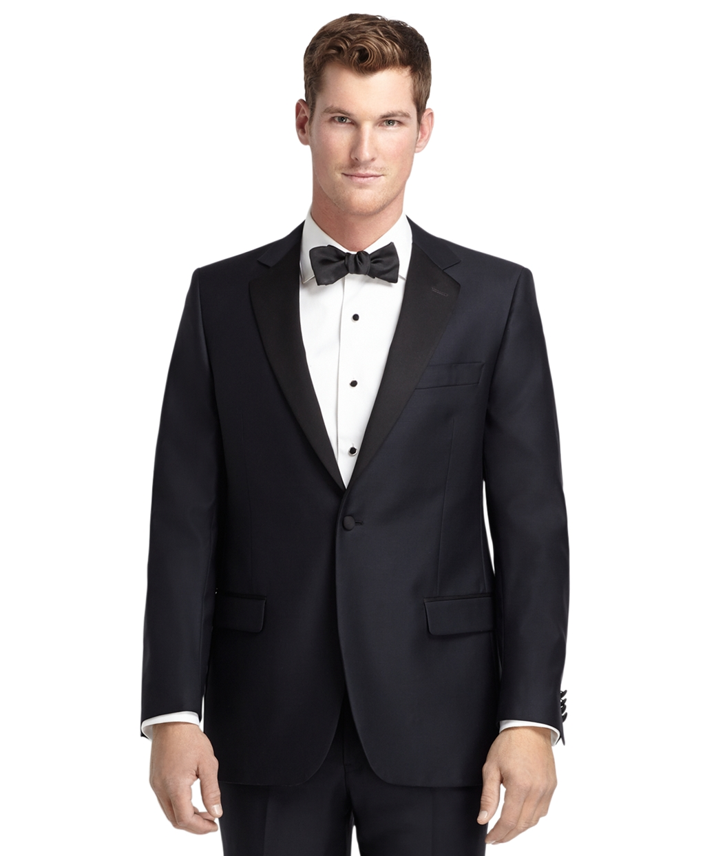 1920s Mens Evening Wear: Tuxedos and Dinner Jackets Brooks Brothers Mens 1818 One-Button Fitzgerald Navy Tuxedo $1,198.00 AT vintagedancer.com