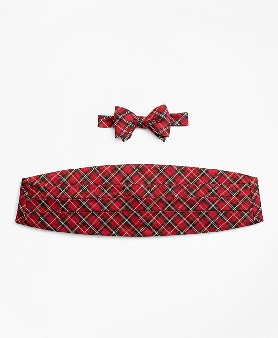 Stewart Tartan Bow Tie and Cummerbund Set Red