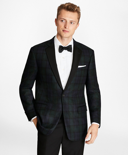 Regent Fit Black Watch Wool Tuxedo Jacket