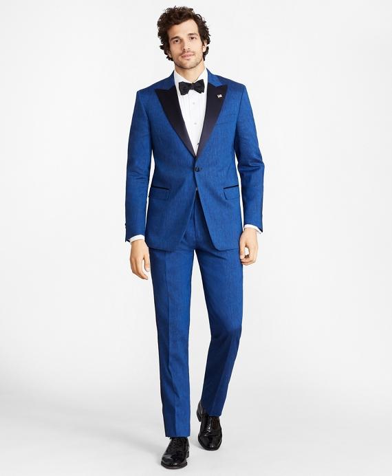 Regent Fit Linen and Wool One-Button Tuxedo Blue