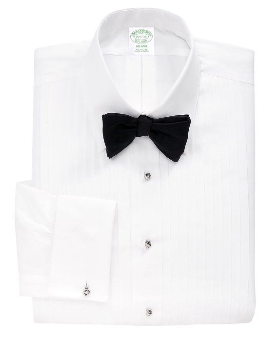 Milano Fit Ten-Pleat Tennis Collar Tuxedo Shirt White
