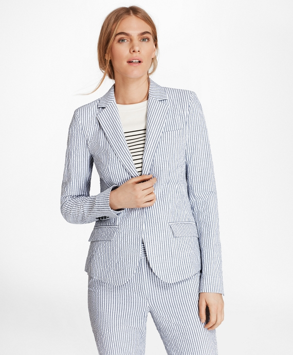 Petite Striped Stretch Cotton Seersucker Jacket Blue-White