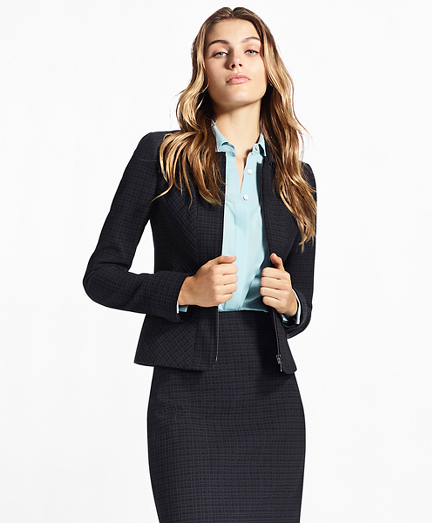 Petite Plaid Stretch-Cotton Jacquard Jacket