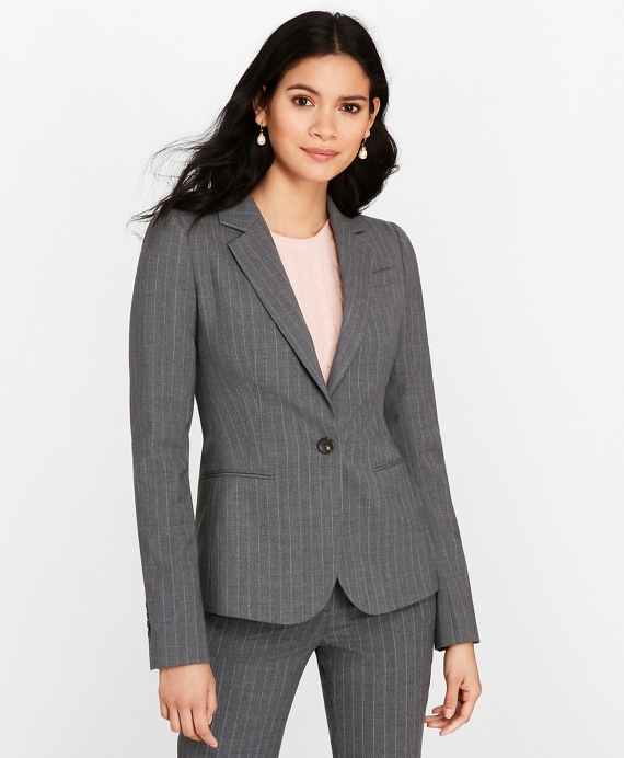Petite Pinstripe Stretch Wool Jacket Grey