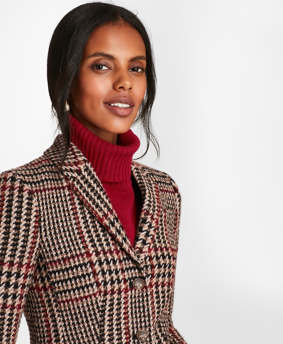 Petite Plaid Wool-Alpaca-Blend Jacket Black-Red